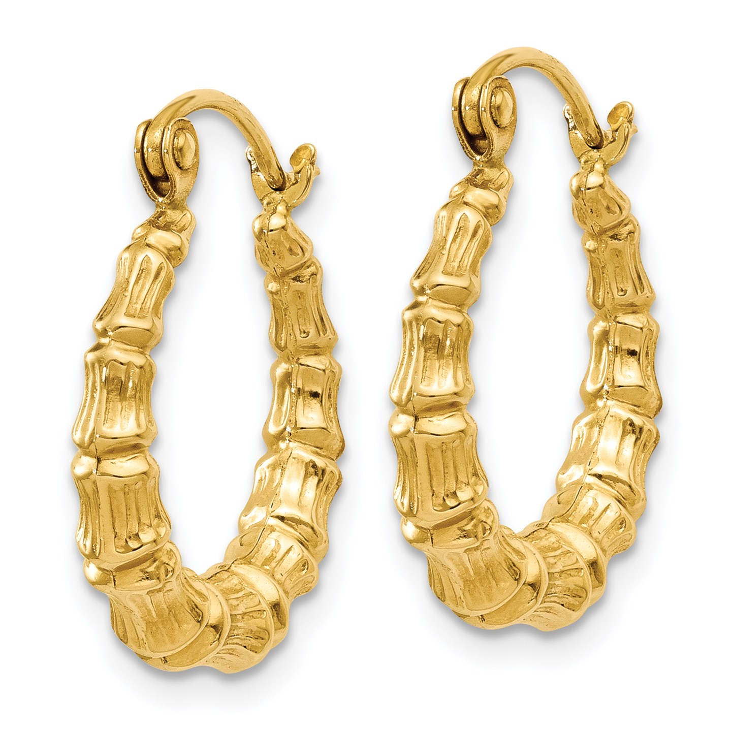 14k Yellow Gold Small Polished Bamboo Design Hollow Hoop Earrings