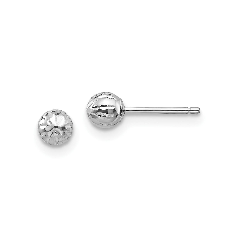a537d4cc6 14K White Gold Diamond Cut 4M Ball Children's Post Earrings (4MM ...