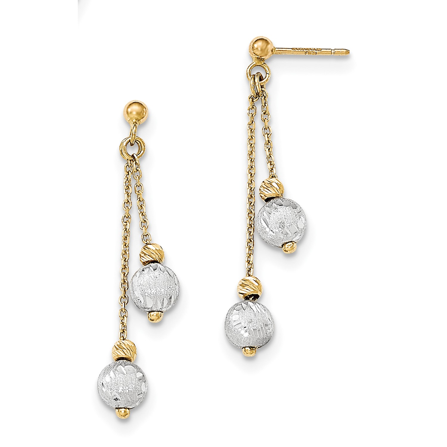 14k Two Tone gold Brushed Polished DC Beaded Dangle Earrings (1.6IN x 0.4IN)
