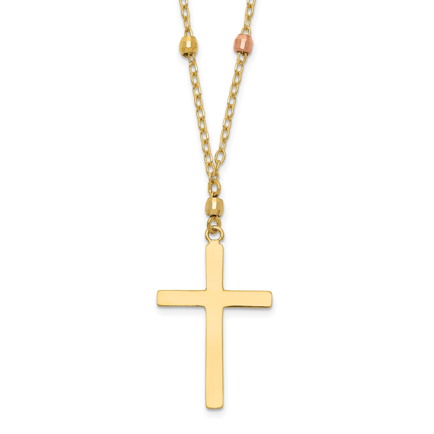 14K Tri Colored Gold 18in Diamond Cut Beaded Cross Necklace