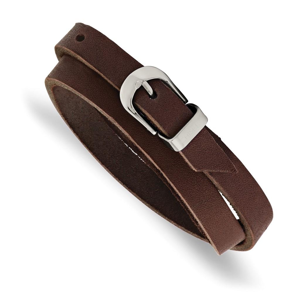 Stainless Steel Brown Leather Wrap BraceletSRB987-8.5