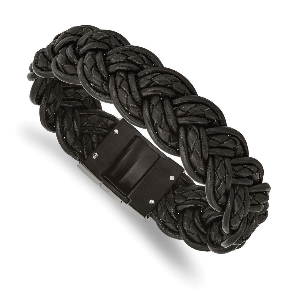 Stainless Steel Black Leather & Black-plated BraceletSRB993-8