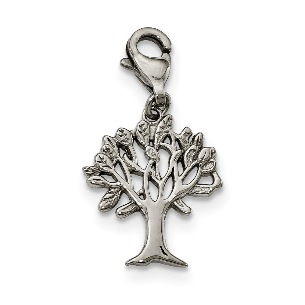 Stainless Steel Polished Tree of Life with Lobster Clasp CharmSRCH238