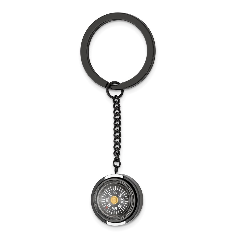 Stainless Steel Polished Black IP-plated Functional Compass Key RingSRK176
