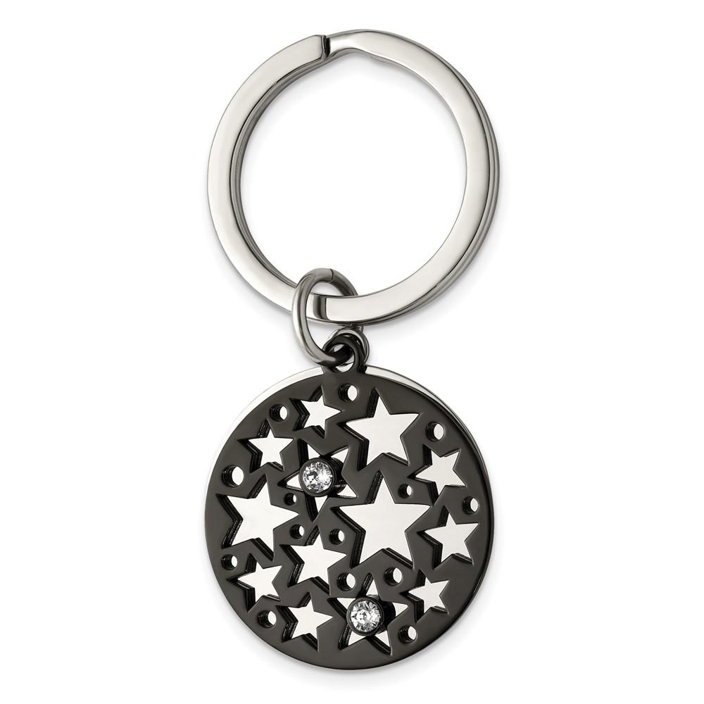 Stainless Steel Polished Black IP with Swarovski Star 2 Piece Key RingSRK178
