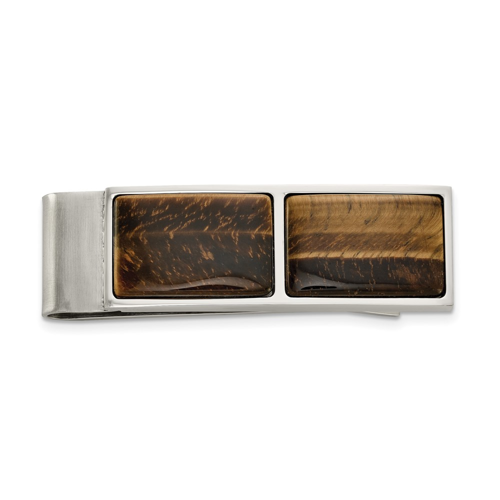 Stainless Steel Polished Tiger's Eye Money ClipSRM198