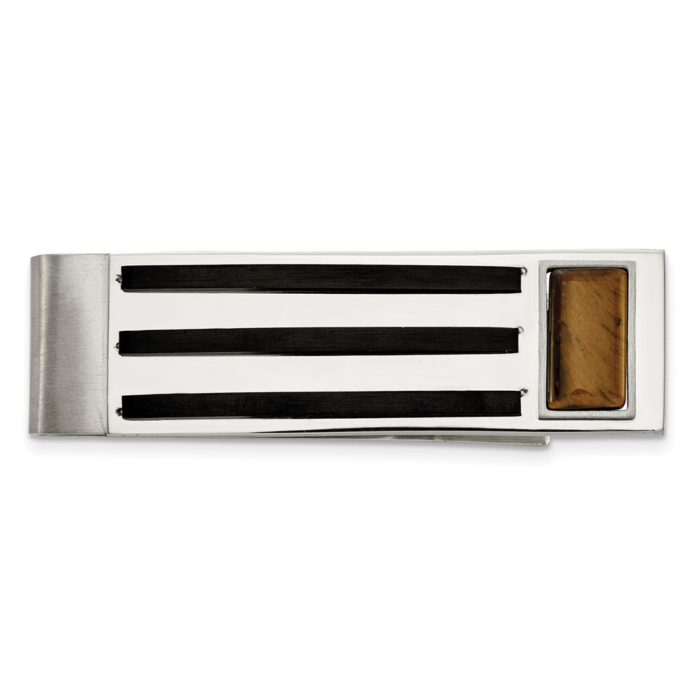 Stainless Steel Brushed and Polished Black IP w/Tiger's Eye Money ClipSRM199