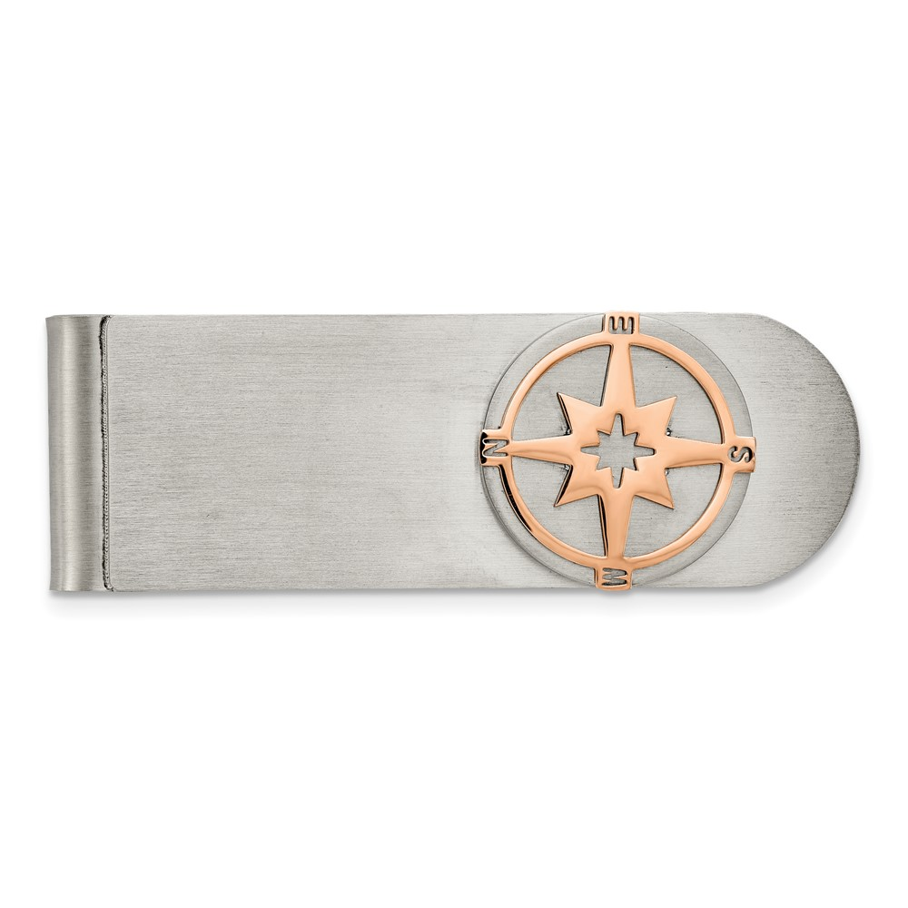 Stainless Steel Brushed and Polished Rose IP-plated Compass Money ClipSRM201
