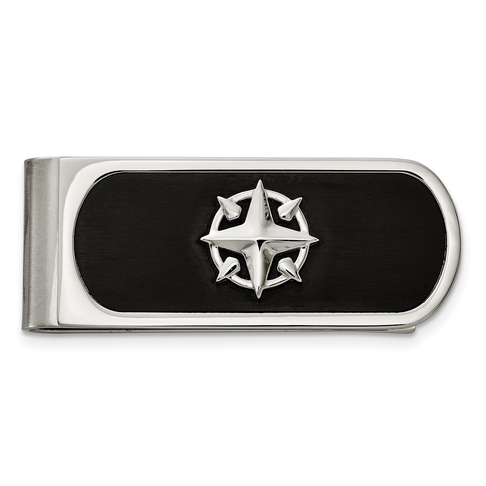 Stainless Steel Brushed and Polished Black IP-plated Compass Money ClipSRM202