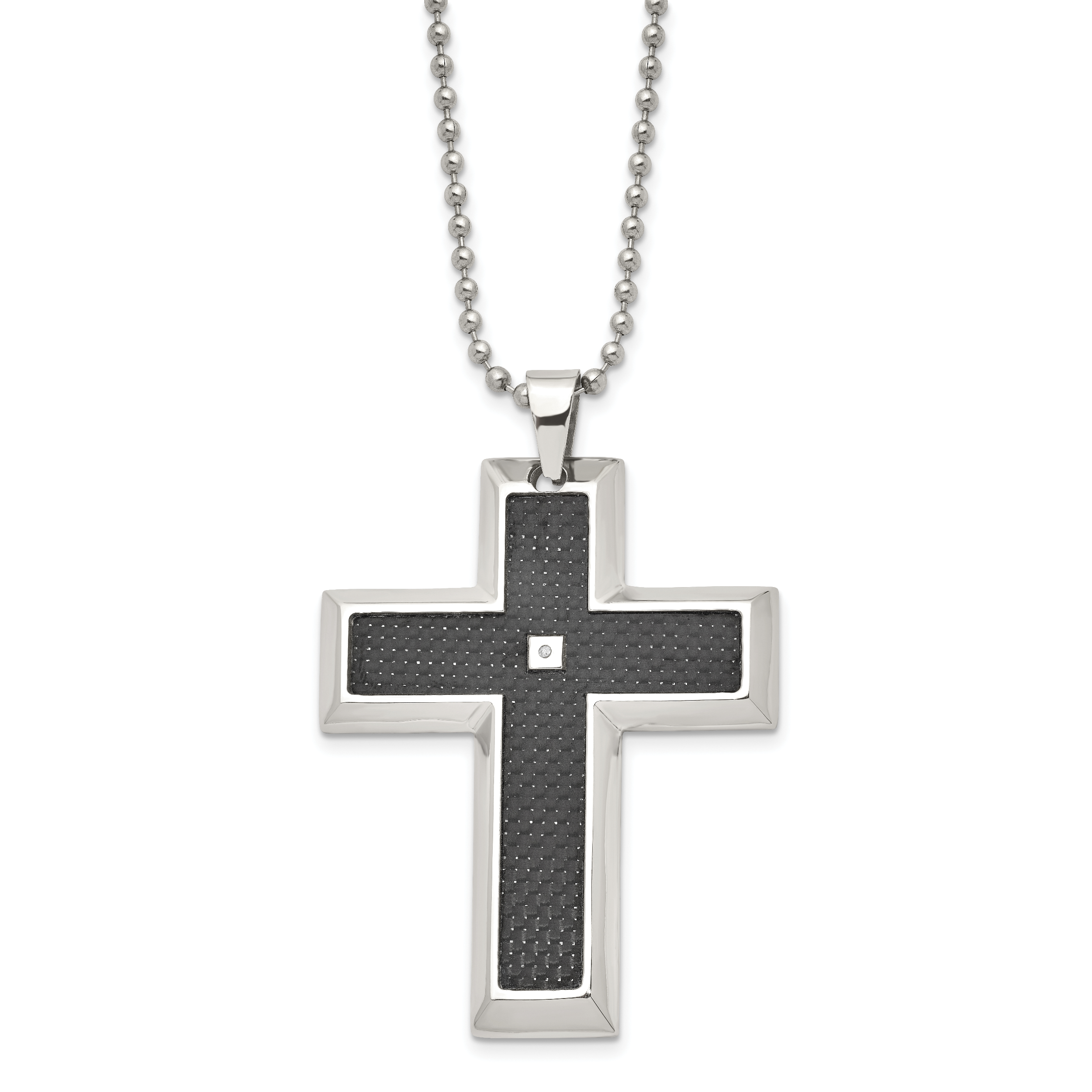 Stainless Steel 14k Accent Crucifix Pendant 22in Necklace