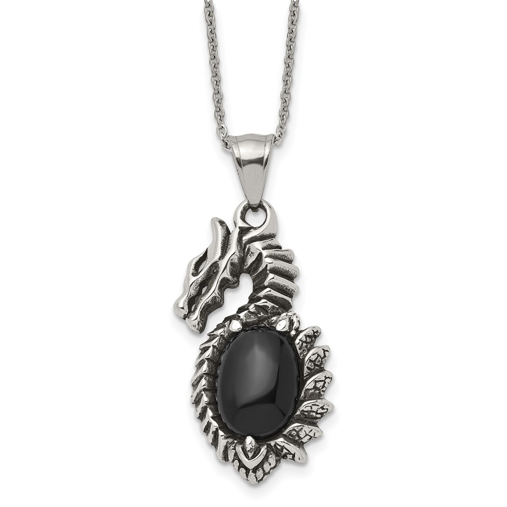 Stainless Steel Antiqued & Polished w/ Black Glass Dragon NecklaceSRN1917-20