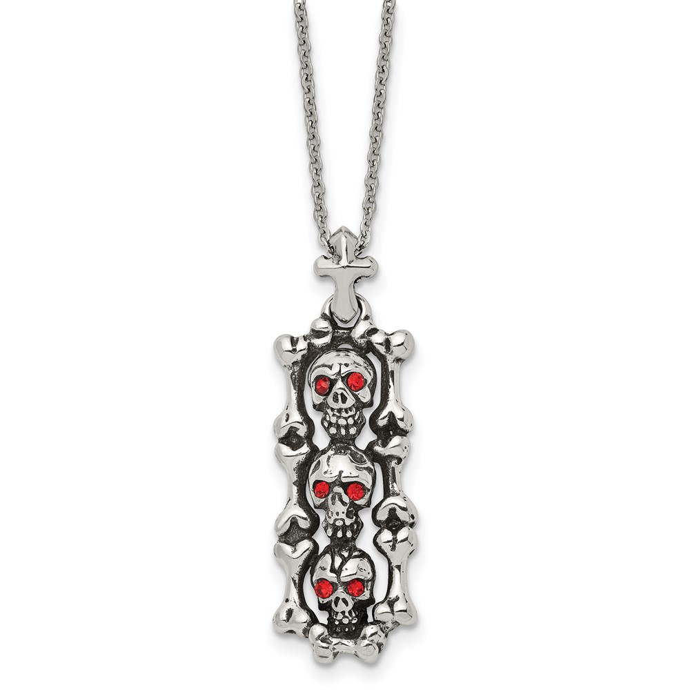 Stainless Steel Antiqued and Polished w/ Red Crystal Skull NecklaceSRN1919-22