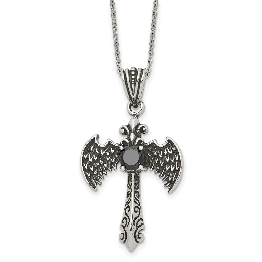 Stainless Steel Antiqued and Polished w/ Black CZ Cross NecklaceSRN1922-20