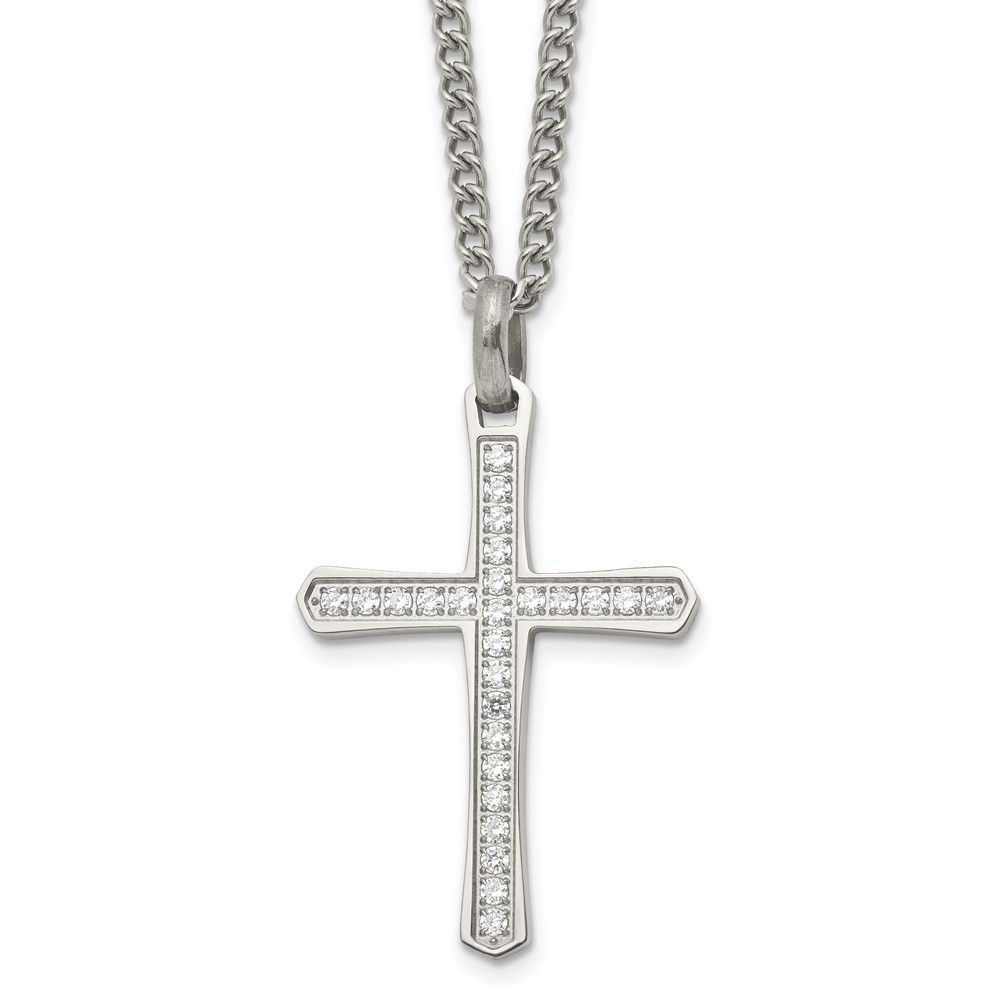 Stainless Steel CZ Cross NecklaceSRN1923-24