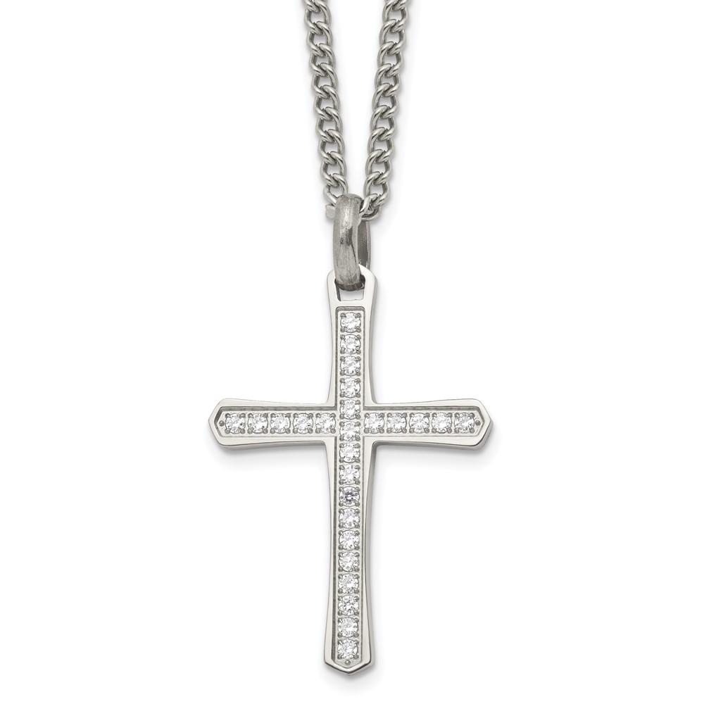 Stainless Steel CZ Cross NecklaceSRN1923-24