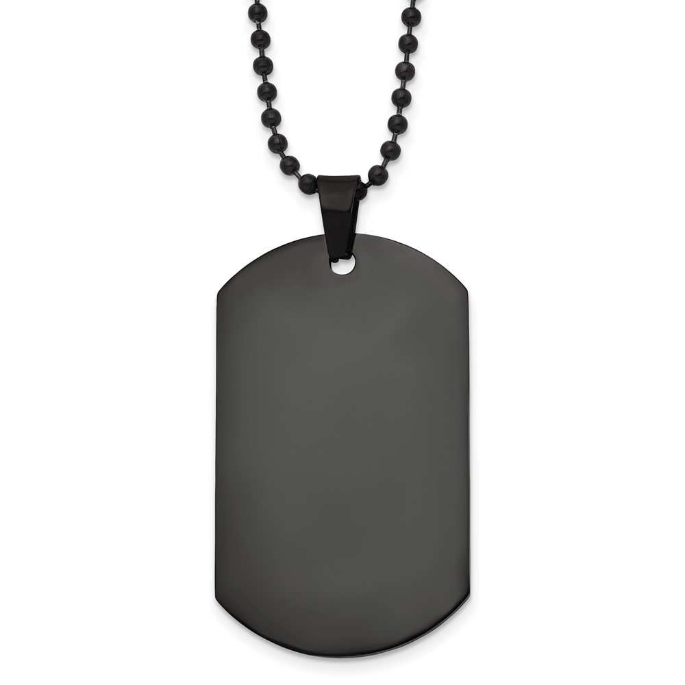 Stainless Steel Polished Black IP Dog Tag NecklaceSRN1924-20