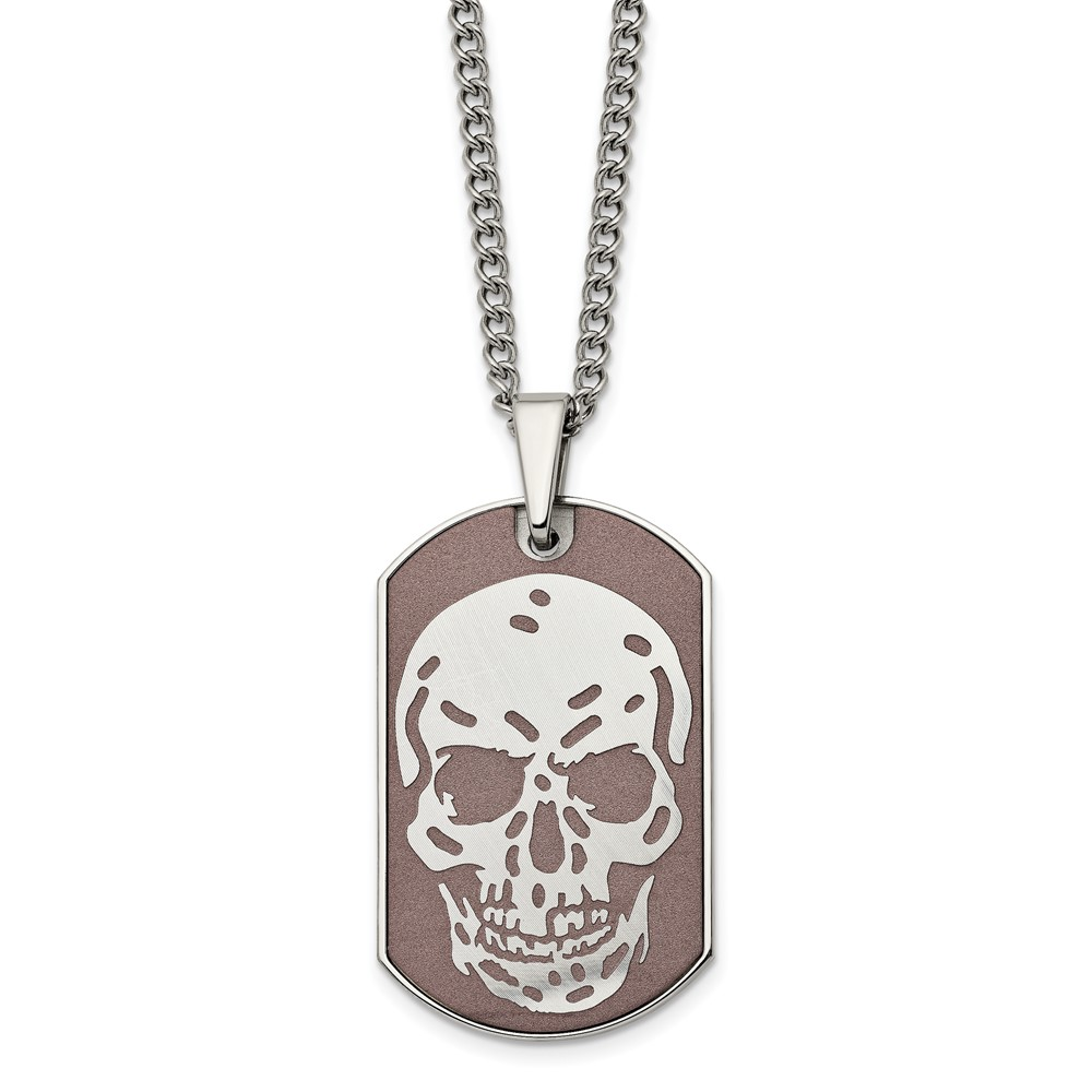 Stainless Steel Brown IP-plated Skull Dog Tag 24in NecklaceSRN1925-24