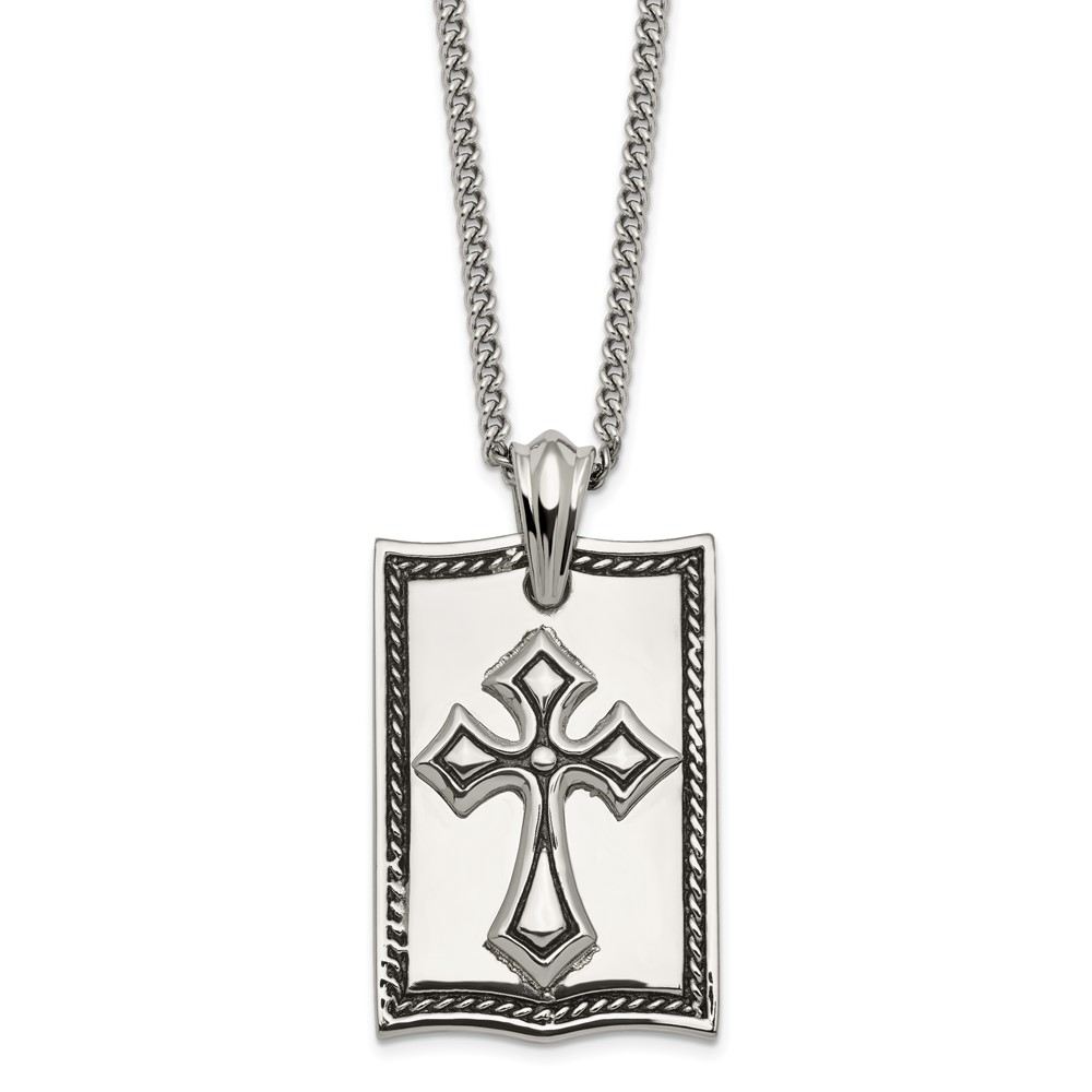 Stainless Steel Antiqued Cross Dog Tag NecklaceSRN1926-24