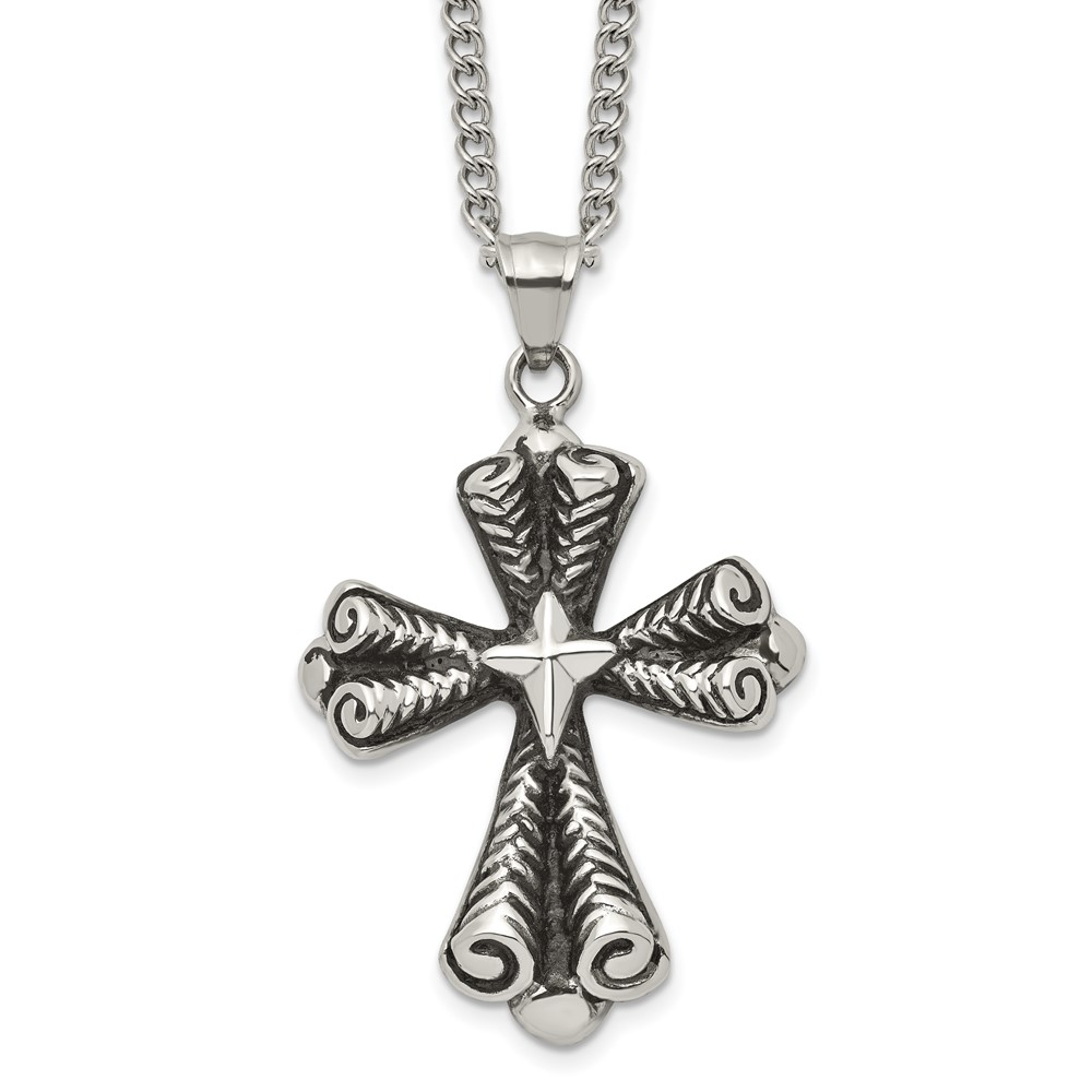 Stainless Steel Antiqued Cross NecklaceSRN1928-24