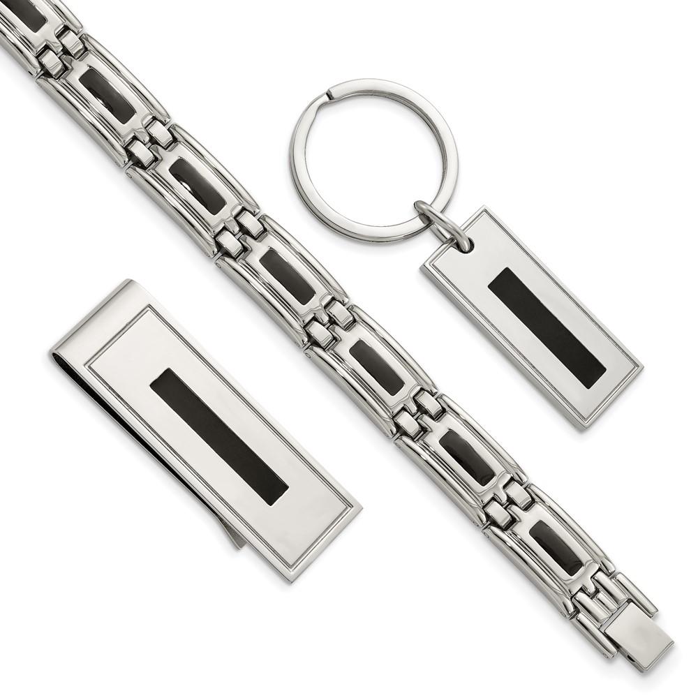 Stainless Steel Enameled Bracelet, Money Clip and Key Ring SetSRSET1