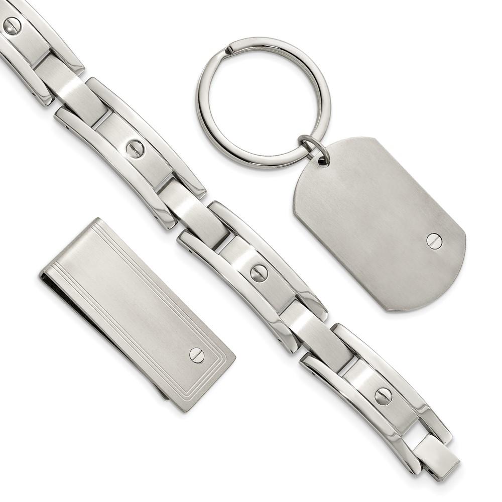 Stainless Steel Brushed and Polished Bracelet, Money Clip and Key Ring SetSRSET2