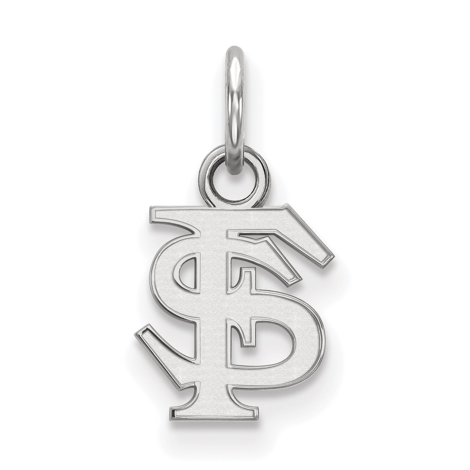 14k White gold LogoArt Licensed Florida State University (FSU) XS Pendant
