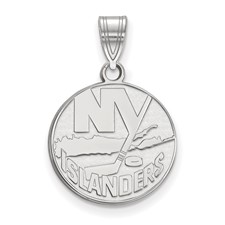 New York Islanders Sterling Silver Gold Plated Medium Pend
