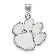 Collegiate logoart clemson university sterling silver large pendant mozeypictures Image collections