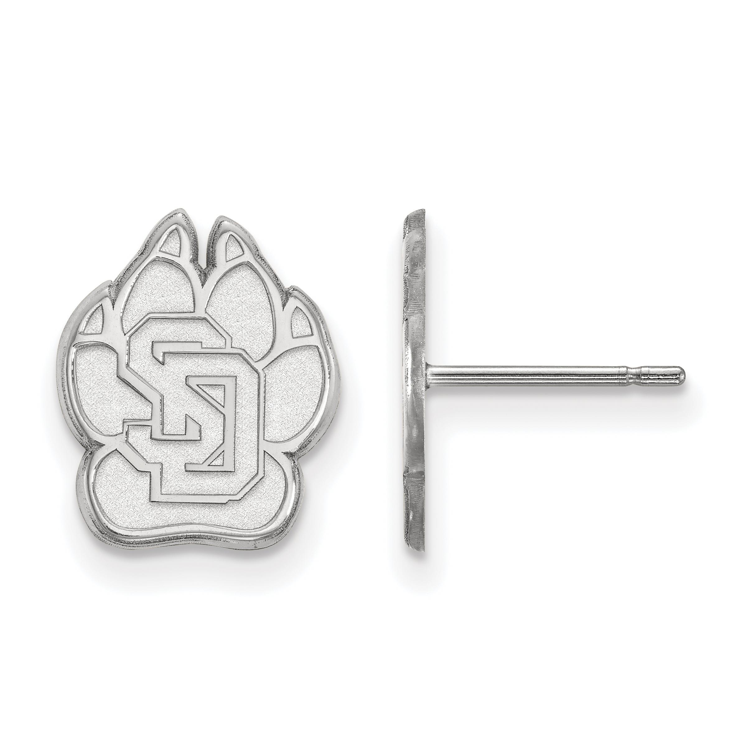 10kw University of South Dakota Small Post Earrings. weight: 1.43, Lengh: 13mm