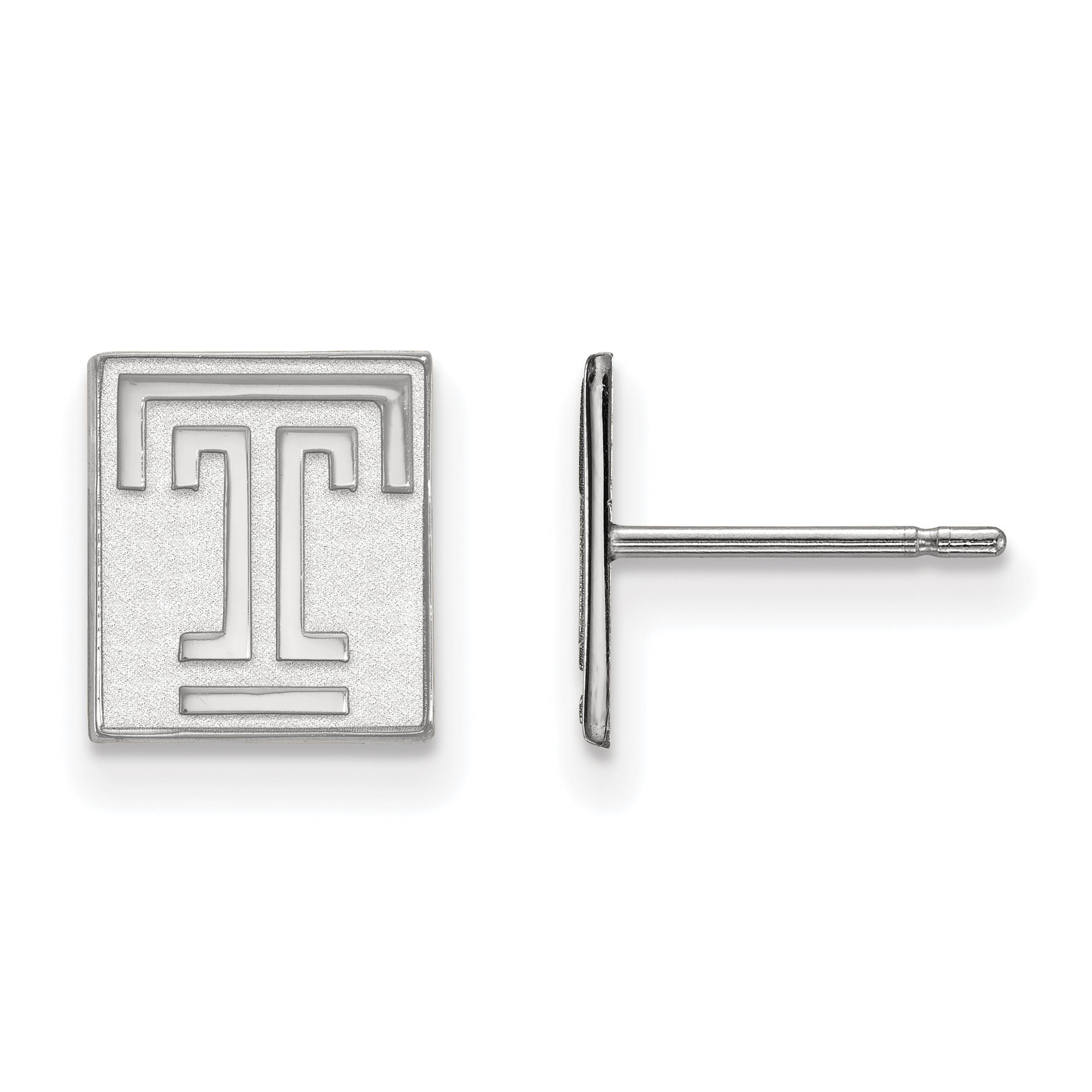10kw Temple University XS Post Earrings. weight: 1.19, Lengh: 9mm