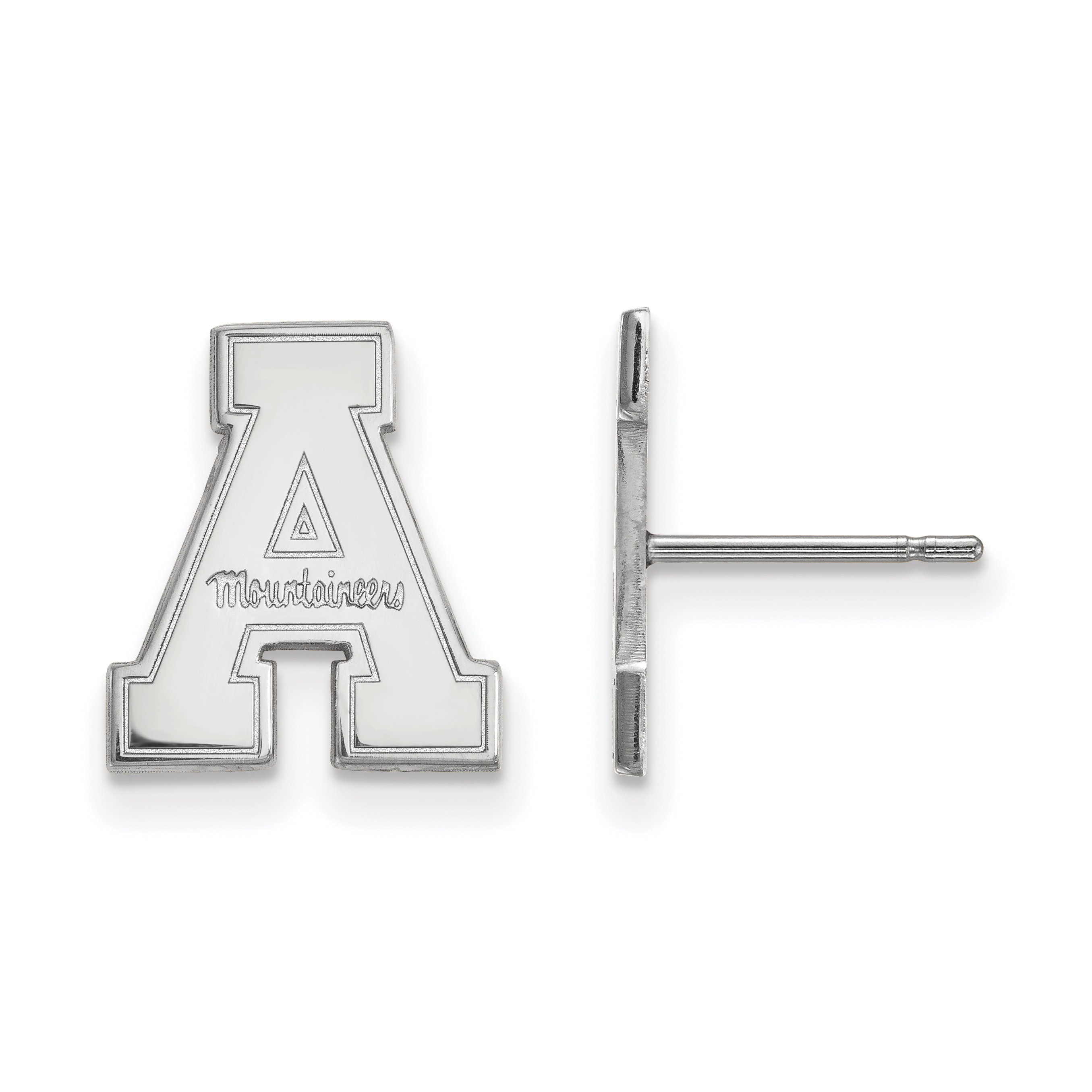 10kw Appalachian State University Small Post Earrings. weight: 1.65, Lengh: 11mm