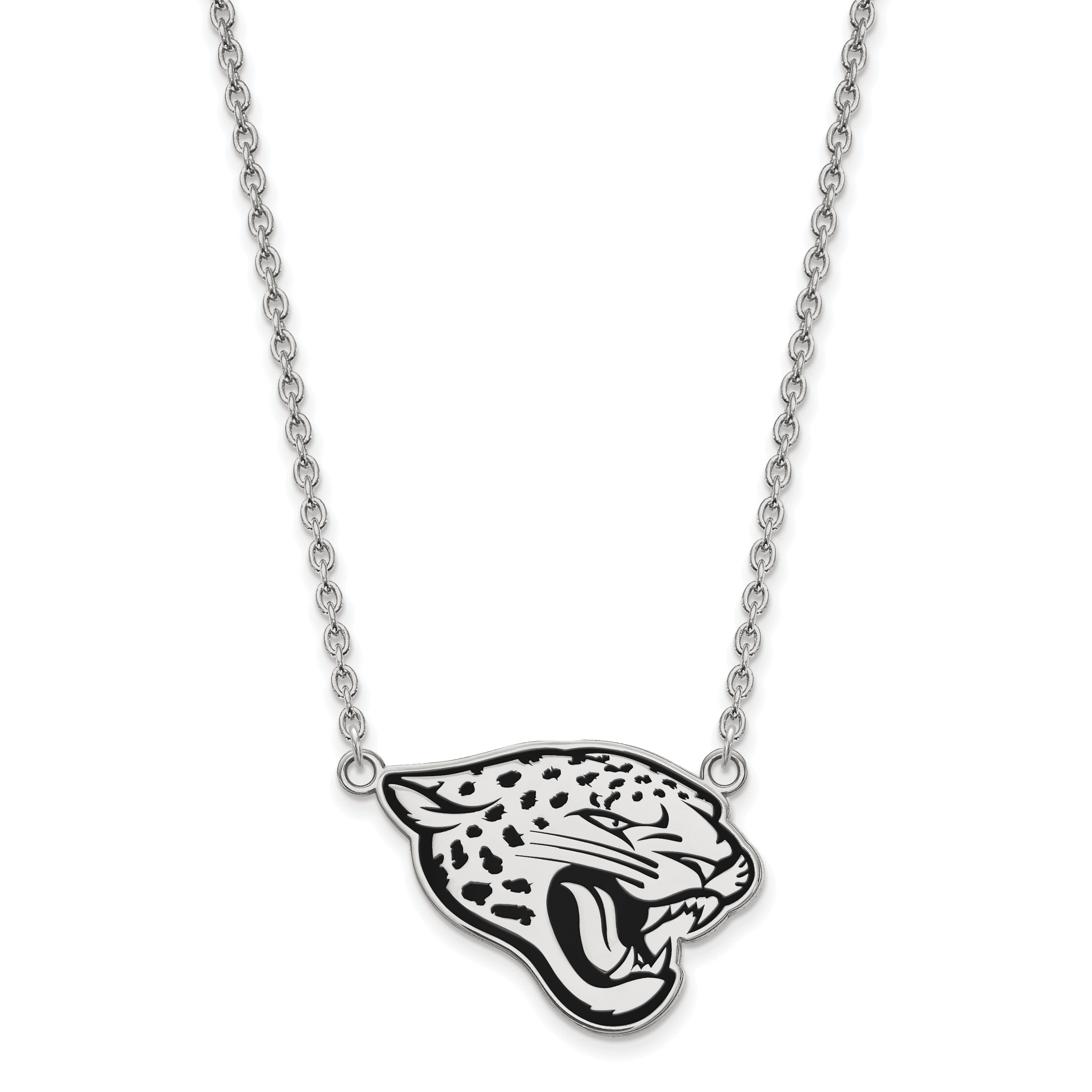 Sterling Silver Rhodium Plated Jacksonville Jaguars Small Pendant w//Necklace 18 in Length Sterling Silver