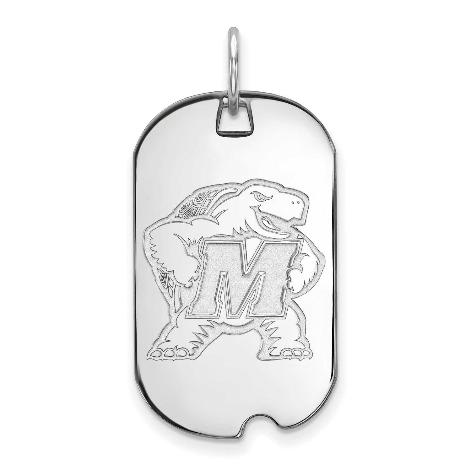 14k White gold LogoArt Licensed Collegiate University of Maryland Small Dog Tag