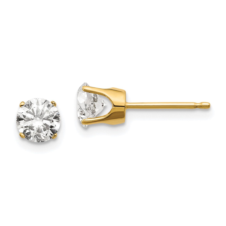 Details About 14k Yellow Gold 1 00ct I1 J K Diamond Stud Earrings Carat Wt 1ct 5mm