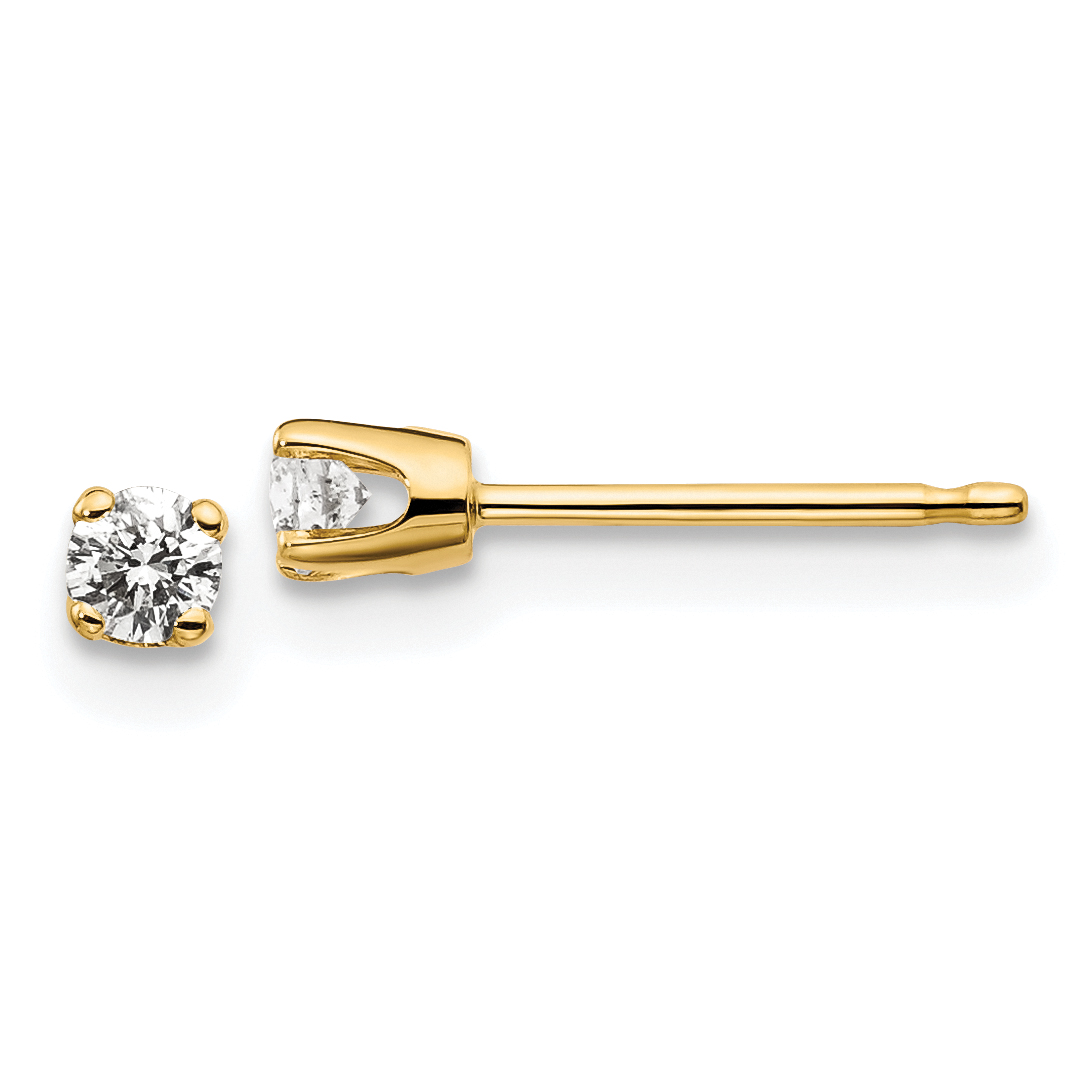 14kw .10ct I2 K-L Diamond Stud Push-on Post Earrings