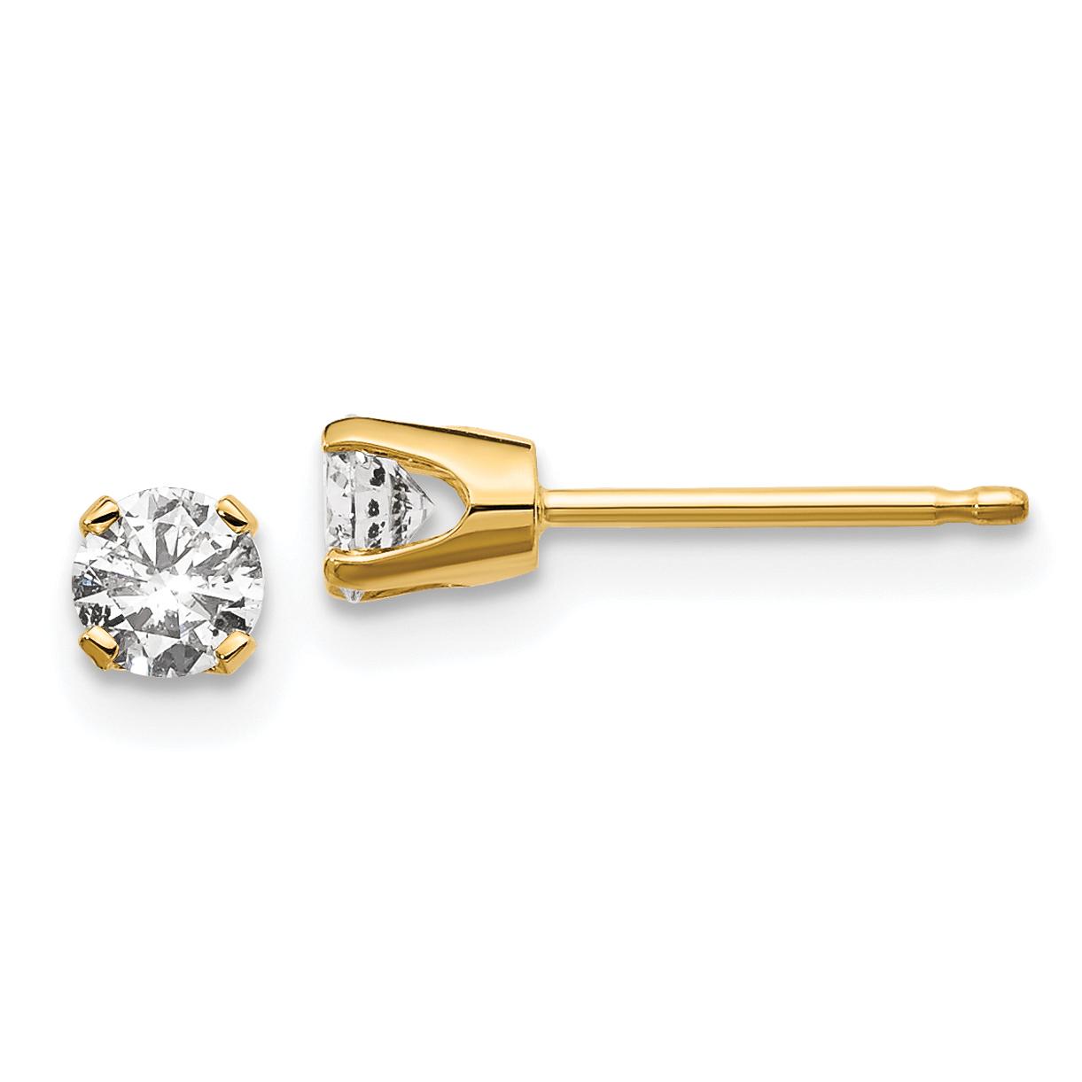 14kw .25ct I2 K-L Diamond Stud Push-on Post Earrings