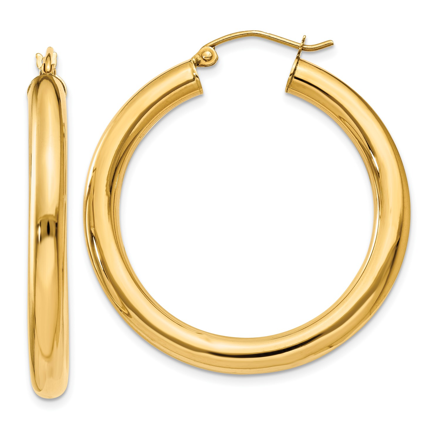 10k Yellow gold Polished 4mm x 35mm Tube Hoop Earrings