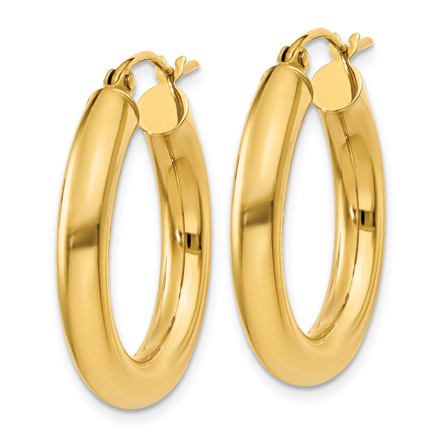 2 14k Yellow Gold Polished 4mm X 25mm Hoop Earrings