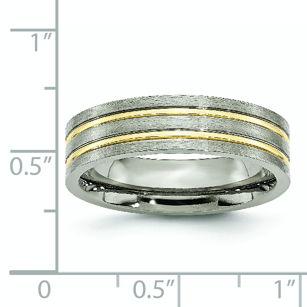 Box Titanium Grooved Black Ip-plated 6mm Brushed And Polished Band