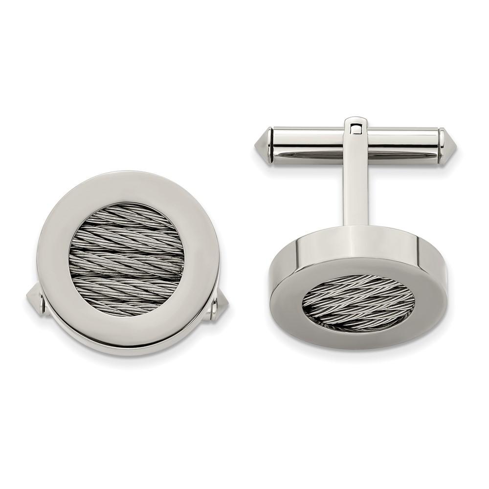Titanium & Steel Wire CufflinksTBC113