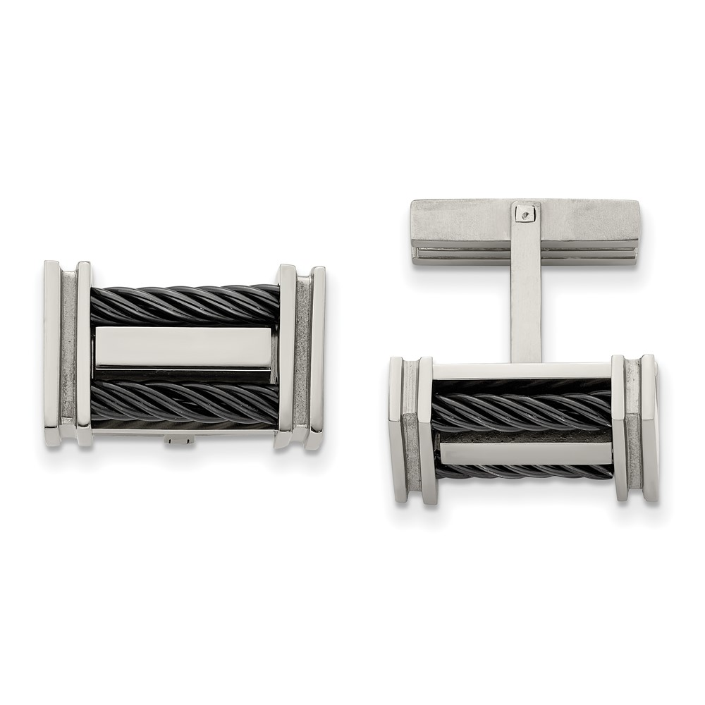 Titanium Black IP-plated Wire CufflinksTBC116