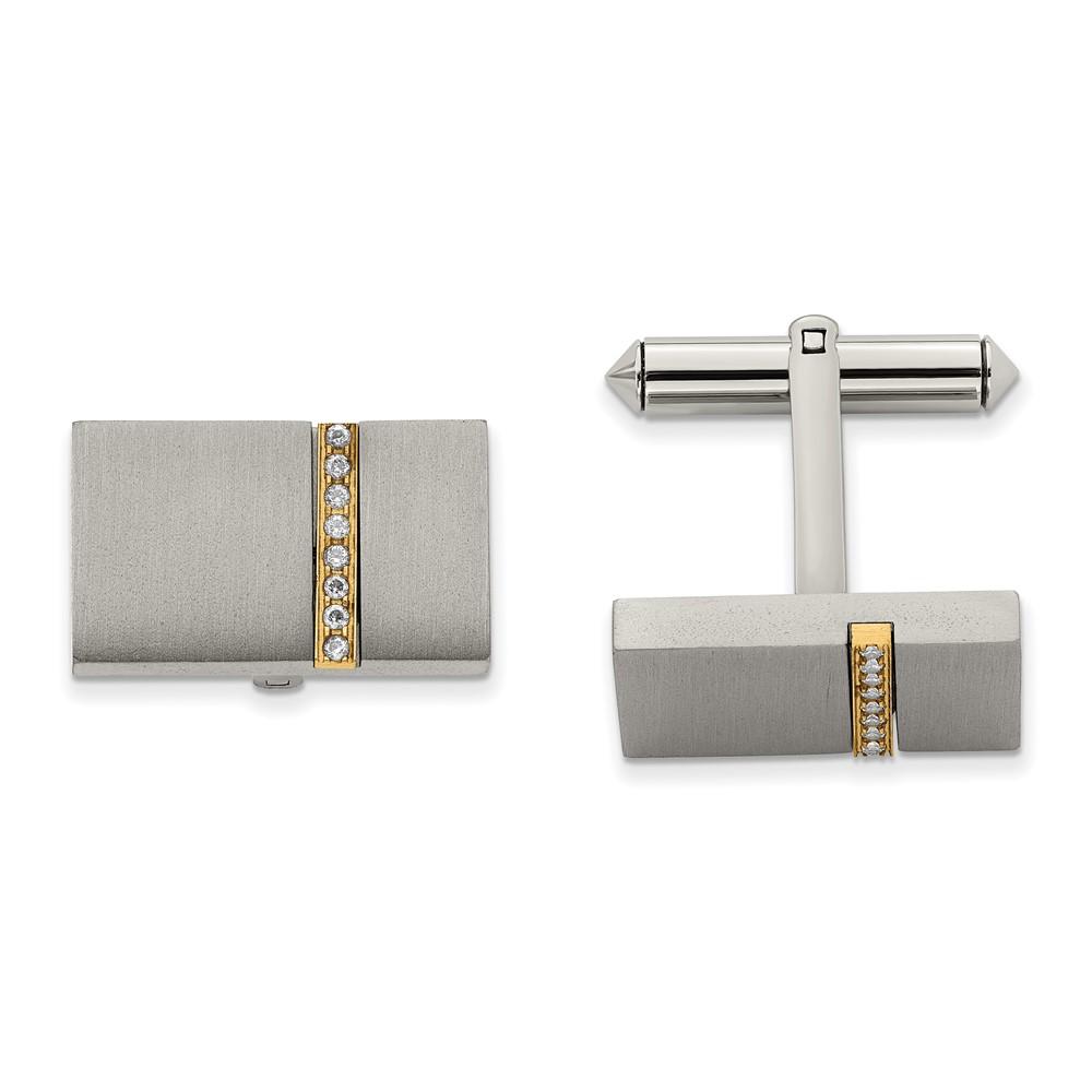 Titanium Brushed Yellow IP-plated CZs Rectangular CufflinksTBC117