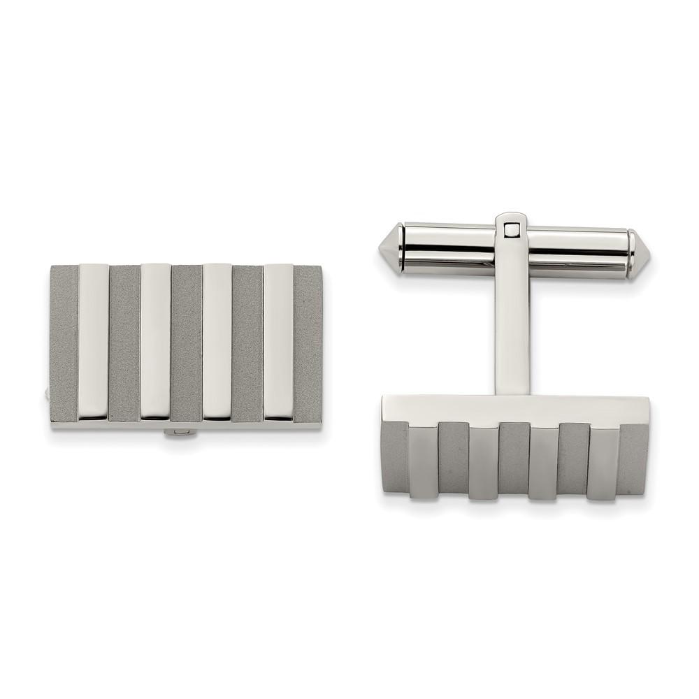 Titanium Polished and Brushed Stripes CufflinksTBC120