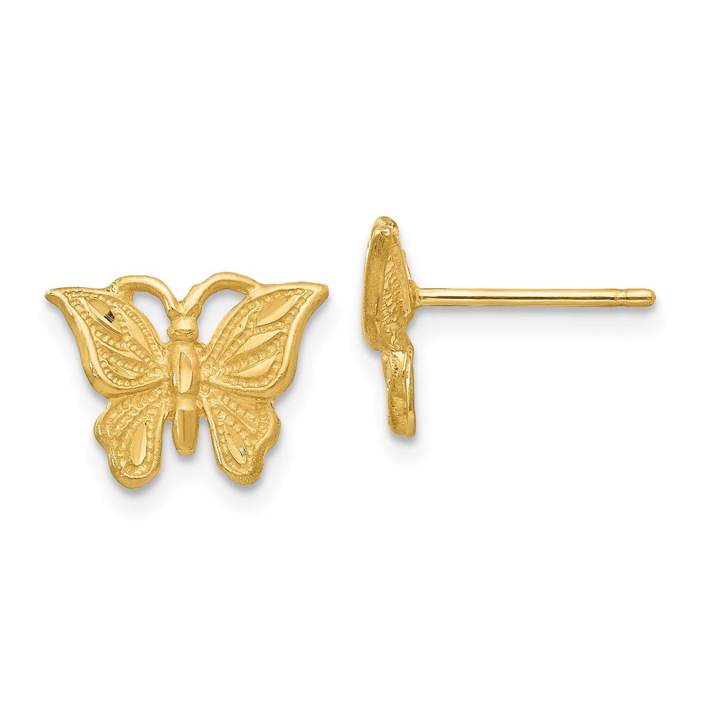 9d718c431 14k Yellow Gold Diamond Cut Butterfly Dangle Hook Earrings-1.3g (8MM ...