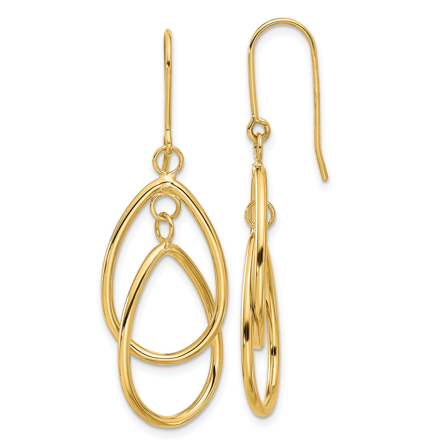 14k Yellow gold Polished Double Circle Dangle Wire Earrings (1.6IN x 0.6IN)