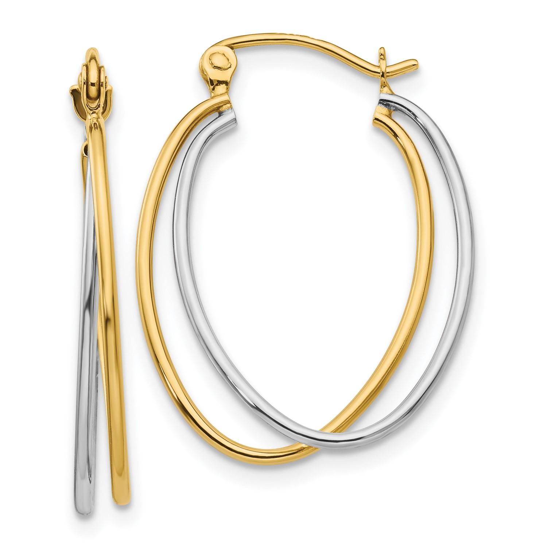14k Two Tone Gold Hoop Earrings Length 26mm X Width 20mm