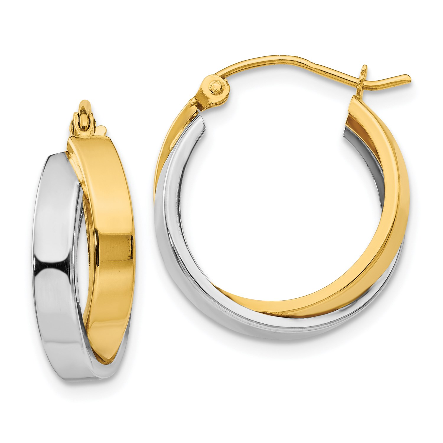 Image Is Loading 14k Two Tone Gold 0 5in Long Polished