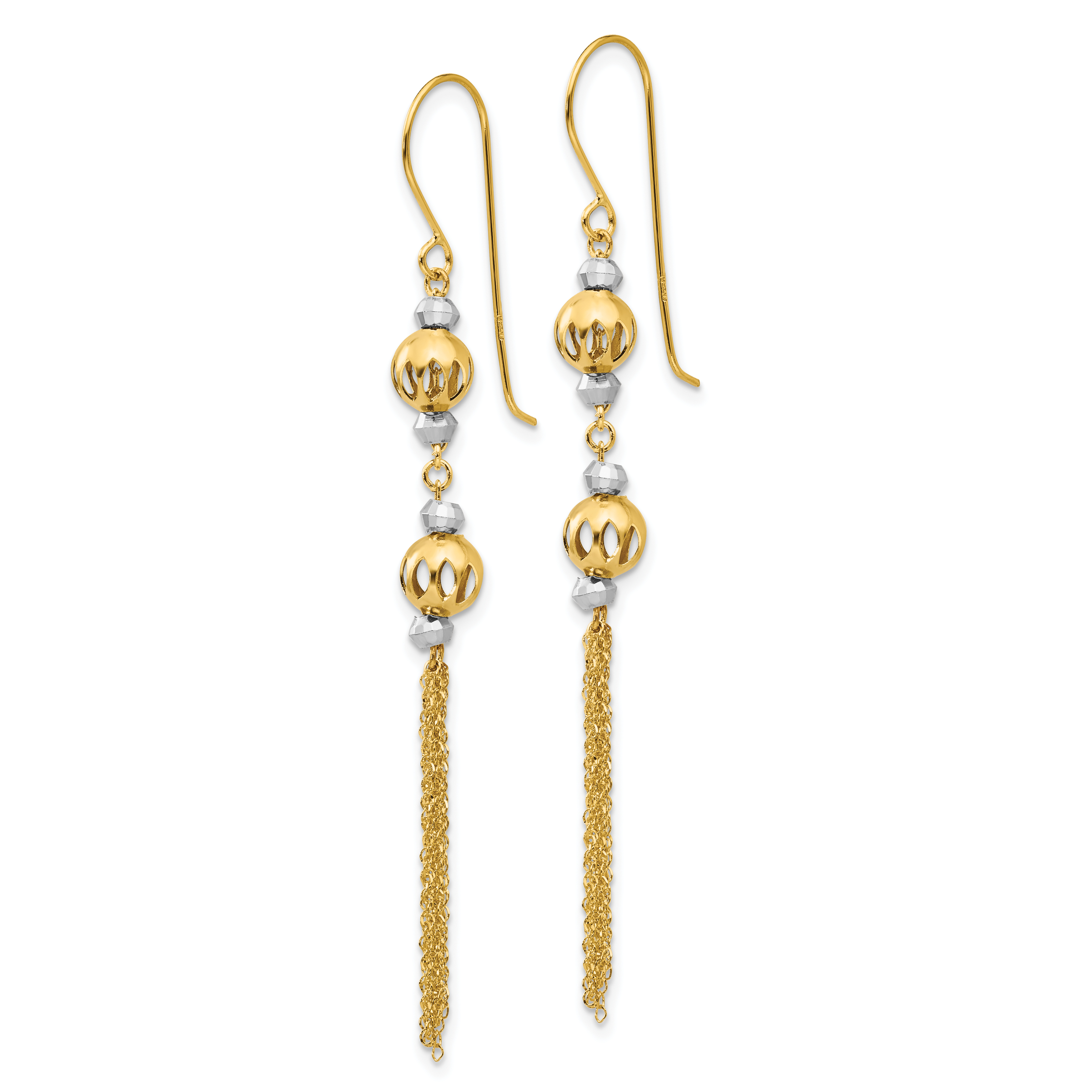 2.1IN x 0.4IN 14k Yellow Gold Bead Chain Shepherd Hook Dangle Earrings