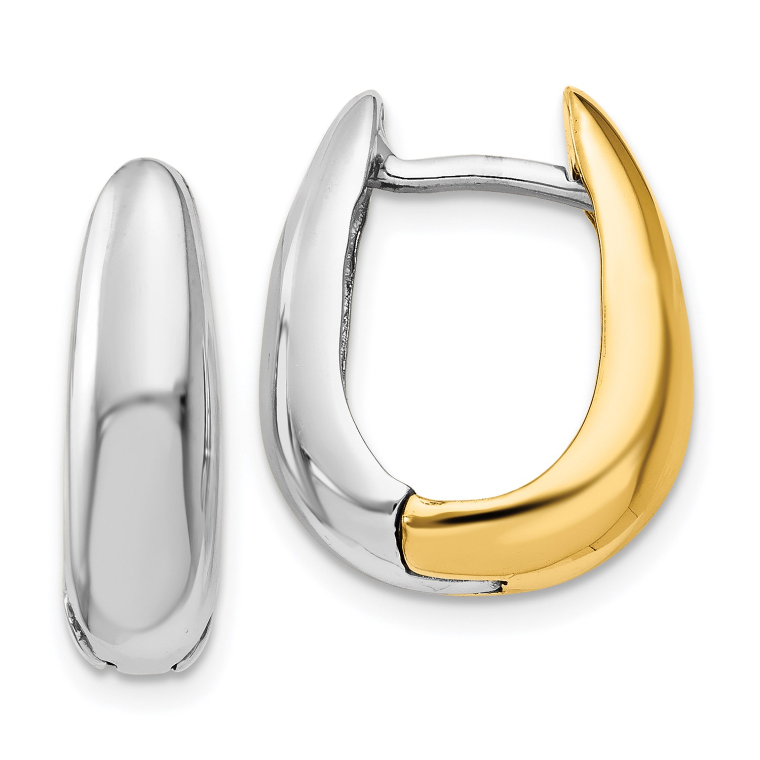 Image Is Loading 14k Two Tone Gold U Shaped Hinged Hoop