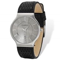 b68991a458f7f Mens Chisel Stainless Steel Grey Dial Black Leather Watch
